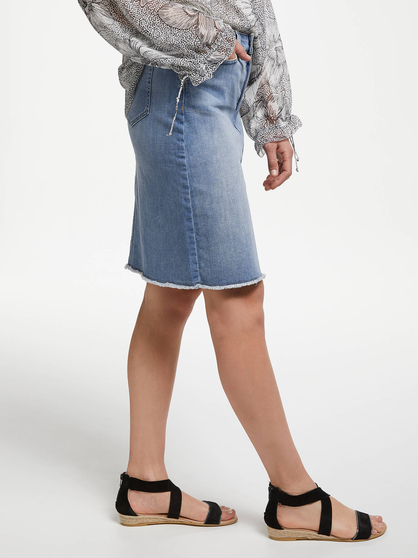 492432a88a ... Buy NYDJ Frayed Hem Denim Skirt, Dreamstate, 8 Online at johnlewis.com