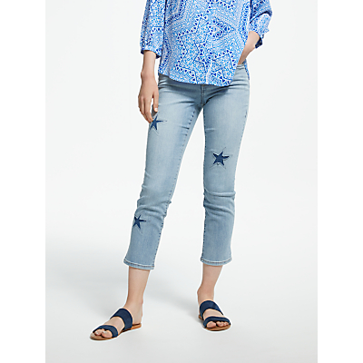 NYDJ Sheri Slim Laser Cut Stars Ankle Jeans, Clean Cloud 9