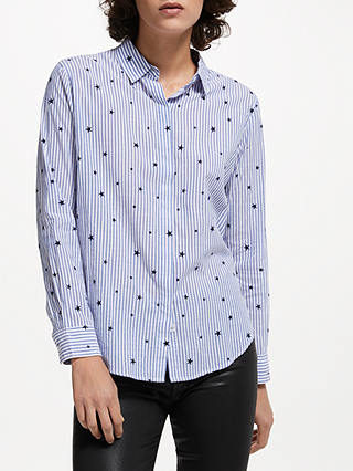 Buy Rails Taylor Flocked Star Shirt, Blue, XS Online at johnlewis.com