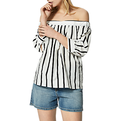 Selected Femme Nadine Stripe Top, White/Black