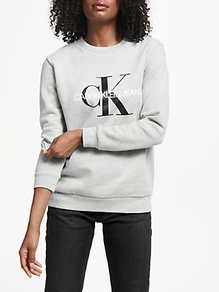 Calvin Klein Core Monogram Logo Sweatshirt, Light Grey Heather