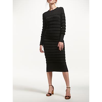 Marella Knitted Stripe Texture Dress, Black