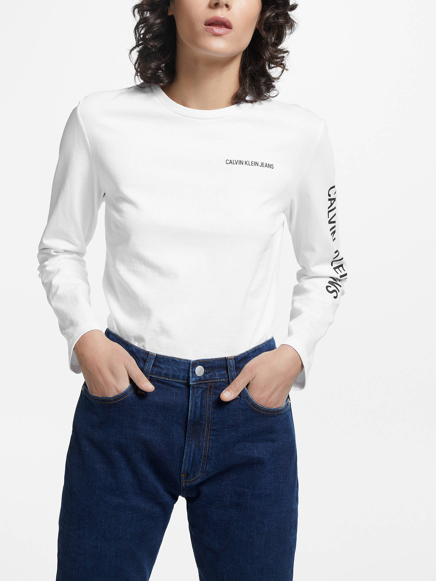 bcbd9968 Buy Calvin Klein Institutional Relaxed Fit Long Sleeve, Bright White, XS  Online at johnlewis ...