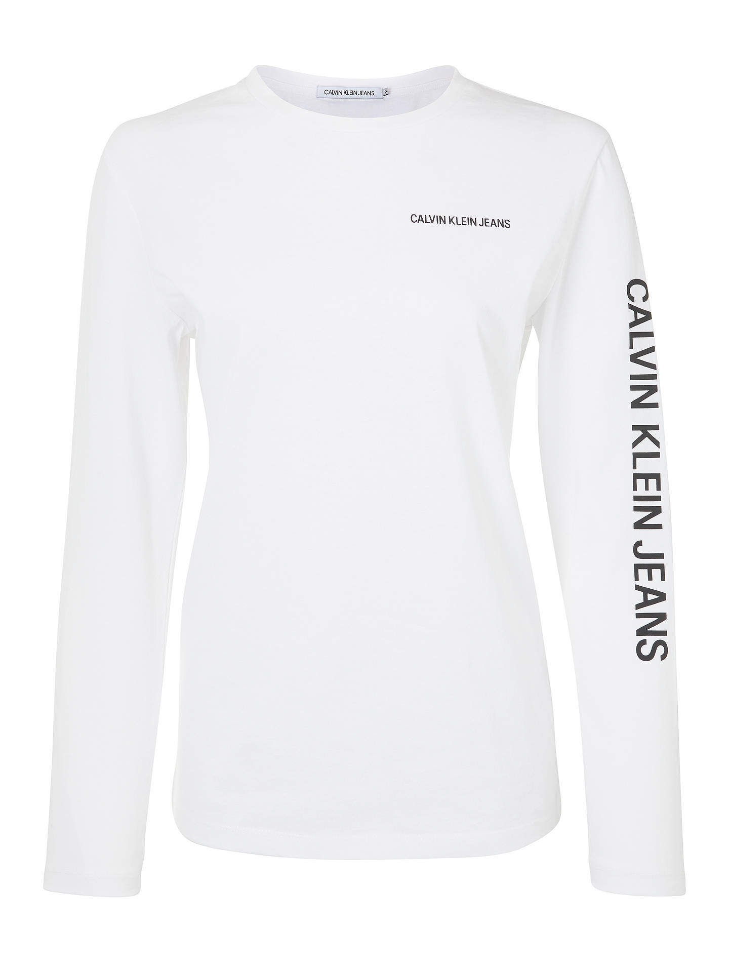 BuyCalvin Klein Institutional Relaxed Fit Long Sleeve, Bright White, XS Online at johnlewis.com