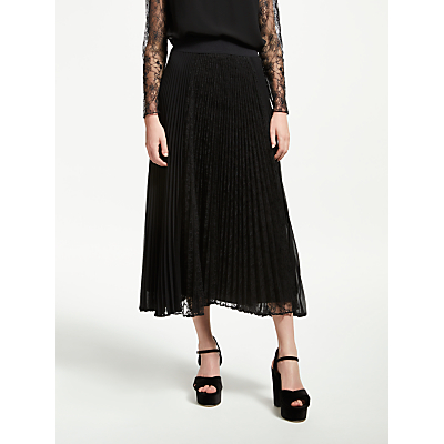 Marella Carpa Pleated Lace Skirt, Black