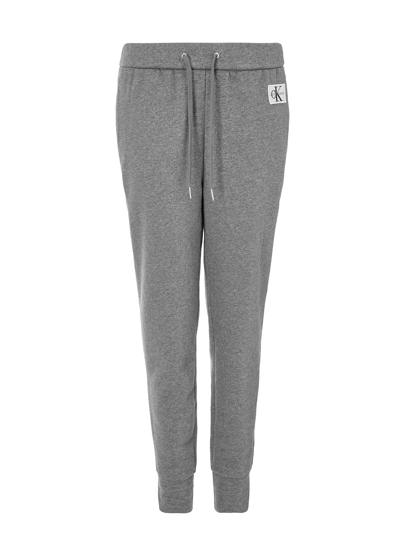 Buy Calvin Klein Logo Badge Tracksuit Bottoms, Mid Grey Heather, XS Online at johnlewis.com