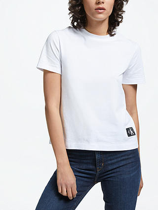 Buy Calvin Klein Boxy Fit Logo T-Shirt, Bright White, XS Online at johnlewis.com