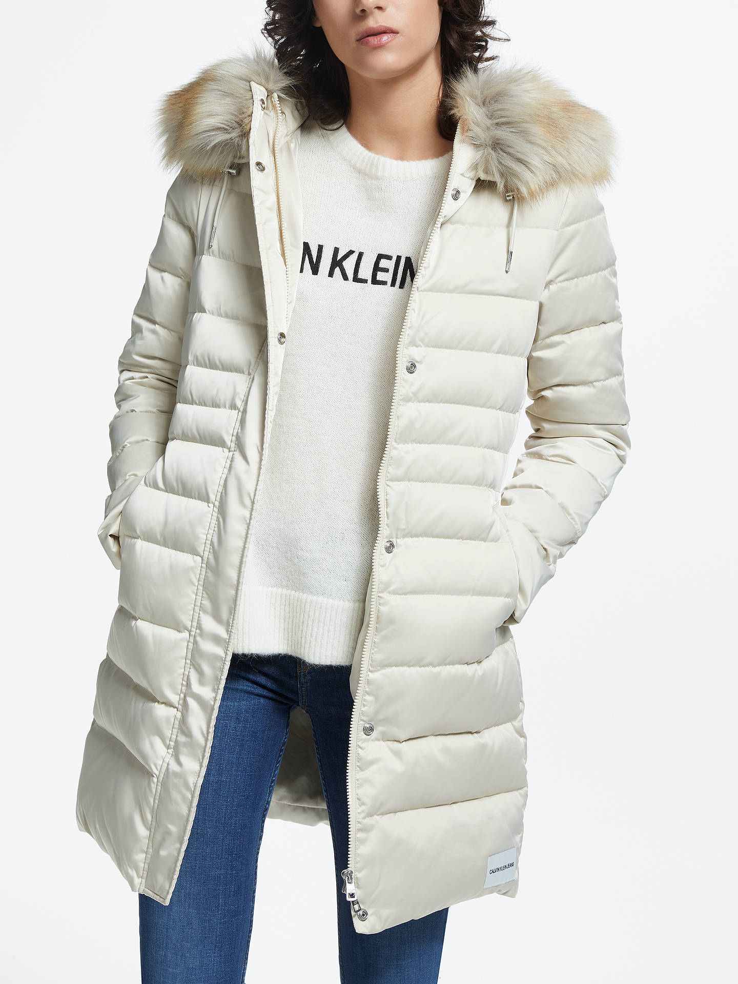 Buy Calvin Klein Jeans Mid Weight Long Down Coat, Oatmeal, XS Online at johnlewis.com