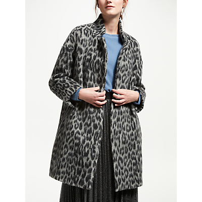 Marella Leopard Wool Alpaca Coat, Grey
