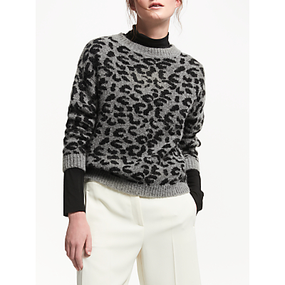 Marella Gino Leopard Print Jumper, Grey