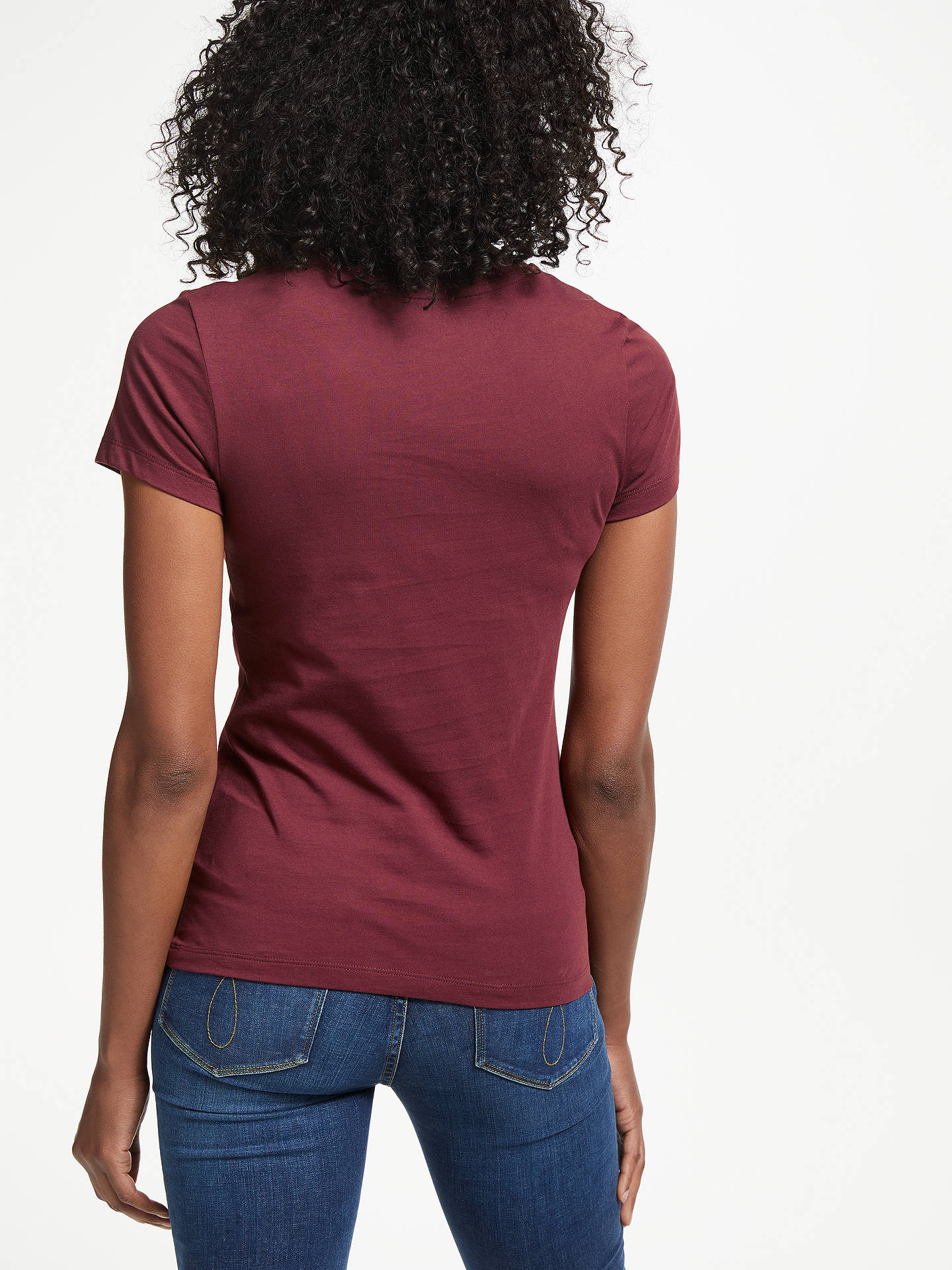 BuyCalvin Klein Institutional Flower Slim Fit T-Shirt, Tawny Port, XS Online at johnlewis.com