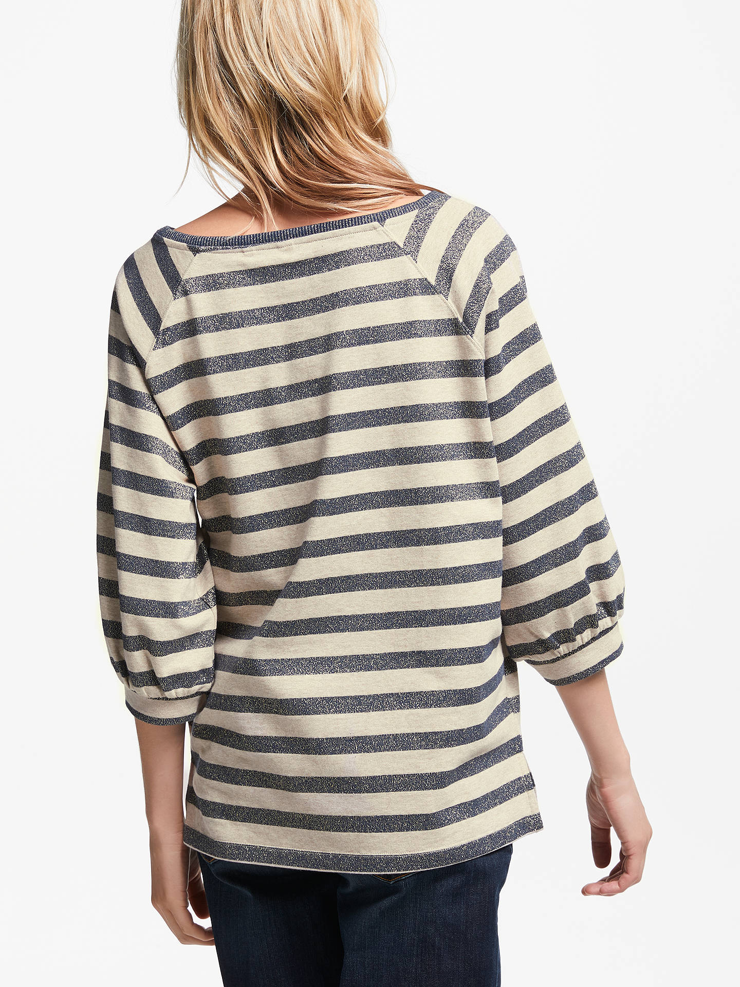 BuyAND/OR Lana Metallic Stripe Sweatshirt, Black/Ivory, S Online at johnlewis.com