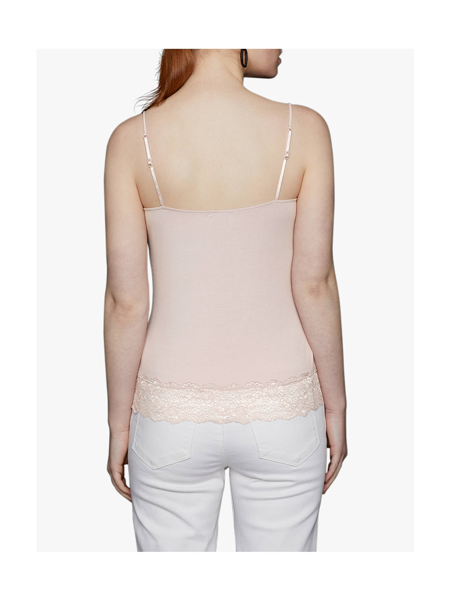 BuyJigsaw Modal Lace Trim Vest, Soft Rose, XS Online at johnlewis.com