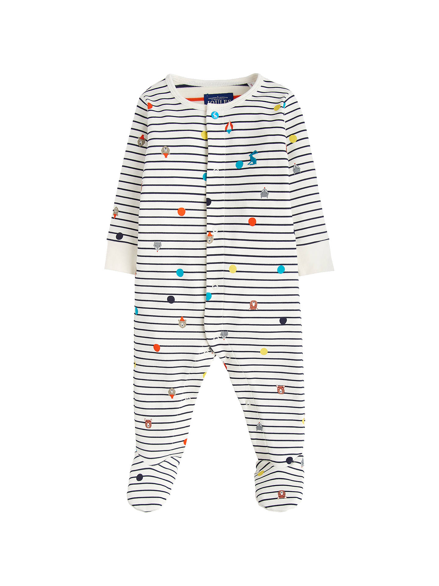 BuyBaby Joule Ziggy Stripe Sleepsuit, Cream/Navy, 0-3 months Online at johnlewis.com