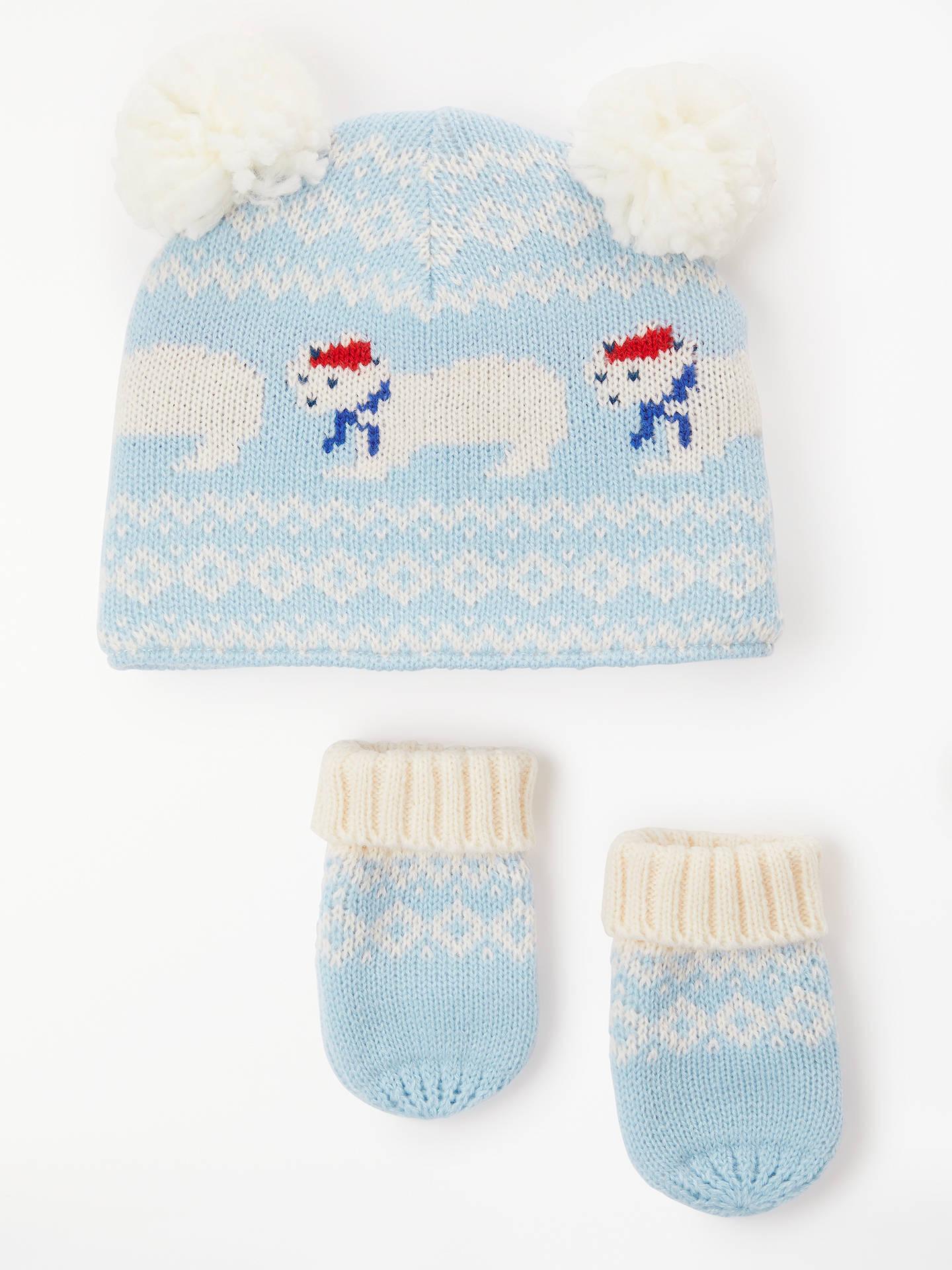 John Lewis   Partners Baby Polar Bear Fairisle Hat and Mitt Set ... 4c5d400fa3b