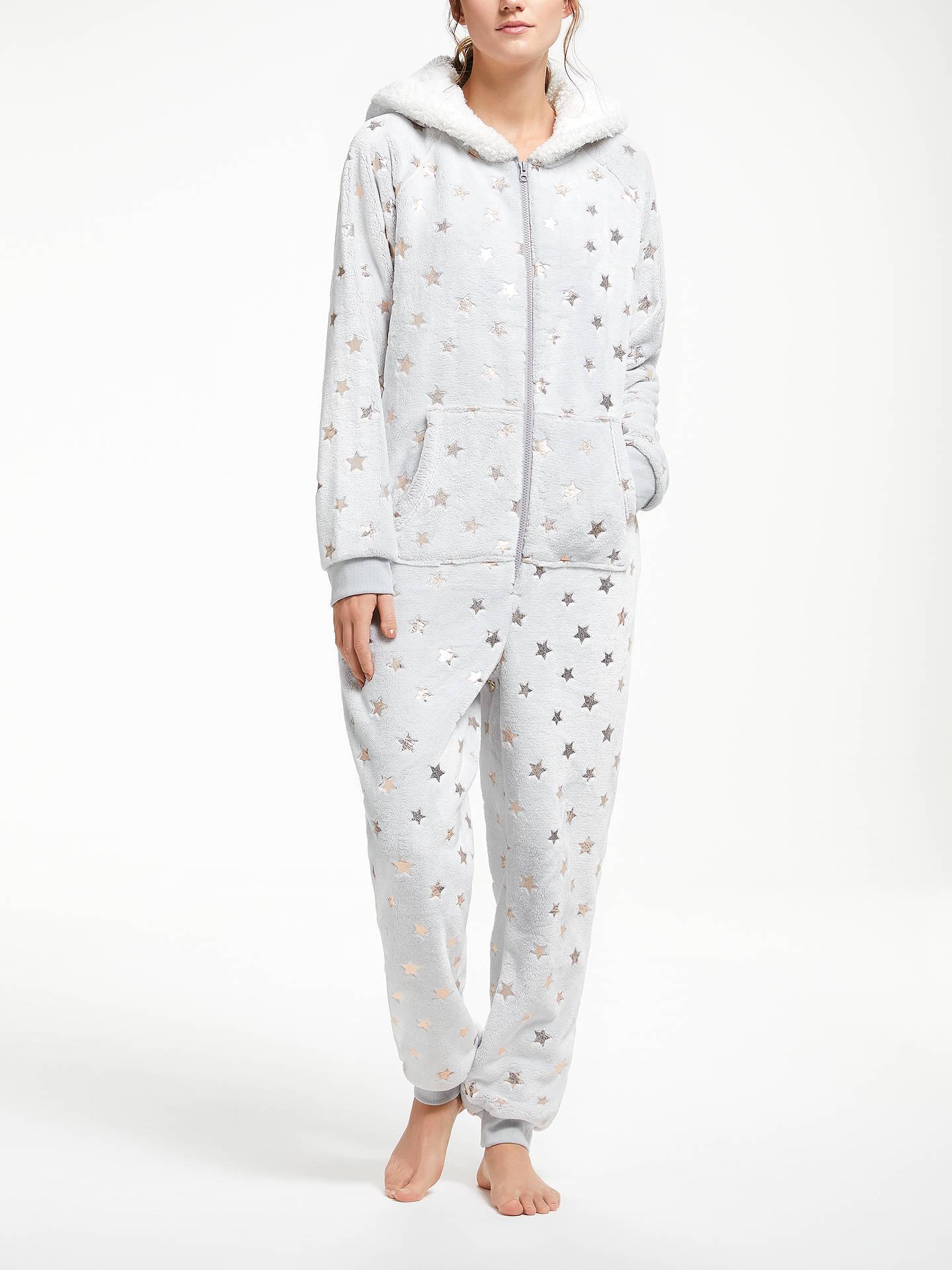 John Lewis Amp Partners Star Foil Fleece Onesie Grey At