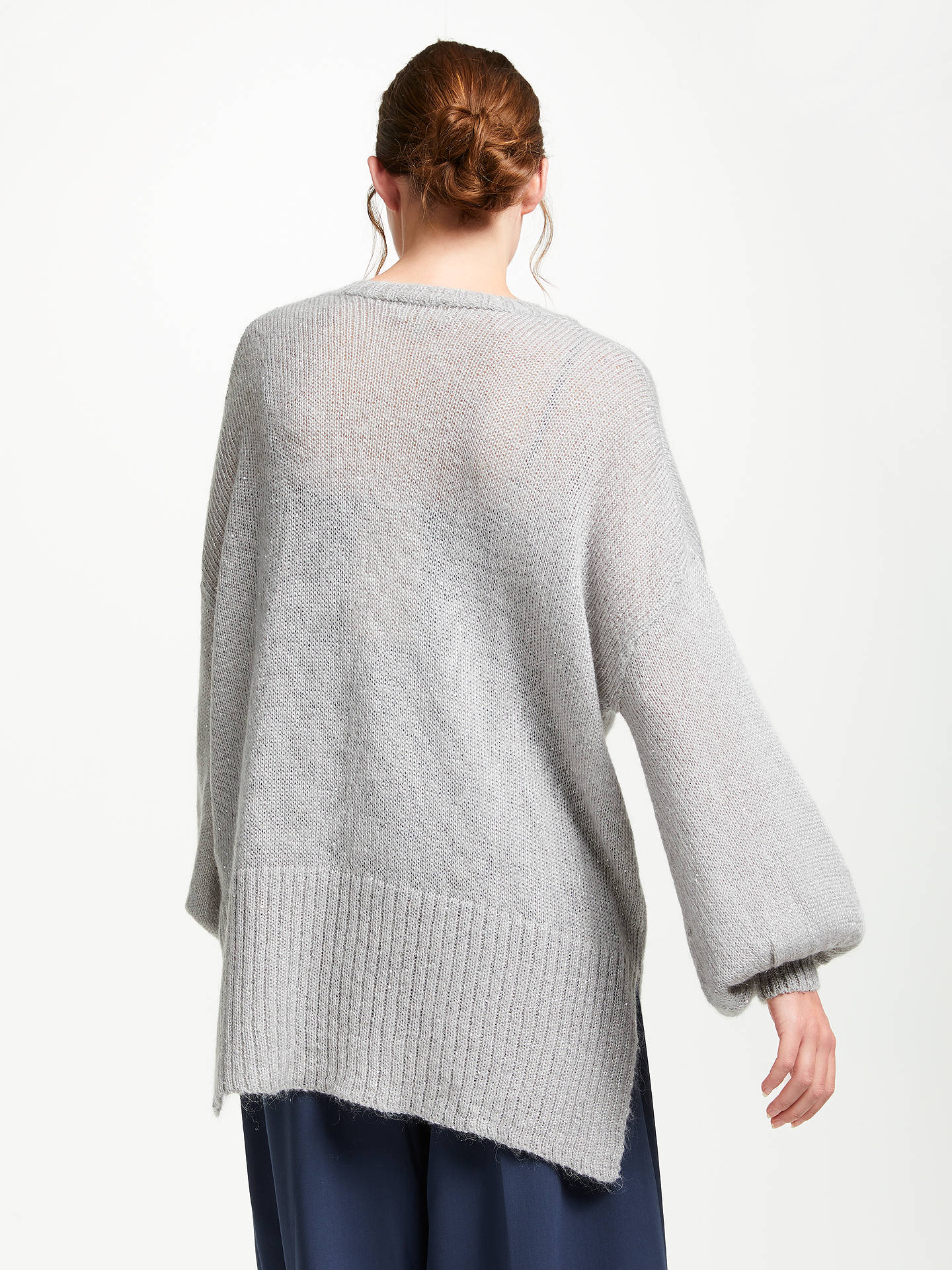 BuyModern Rarity Sparkle V-Neck Jumper, Grey, XS Online at johnlewis.com