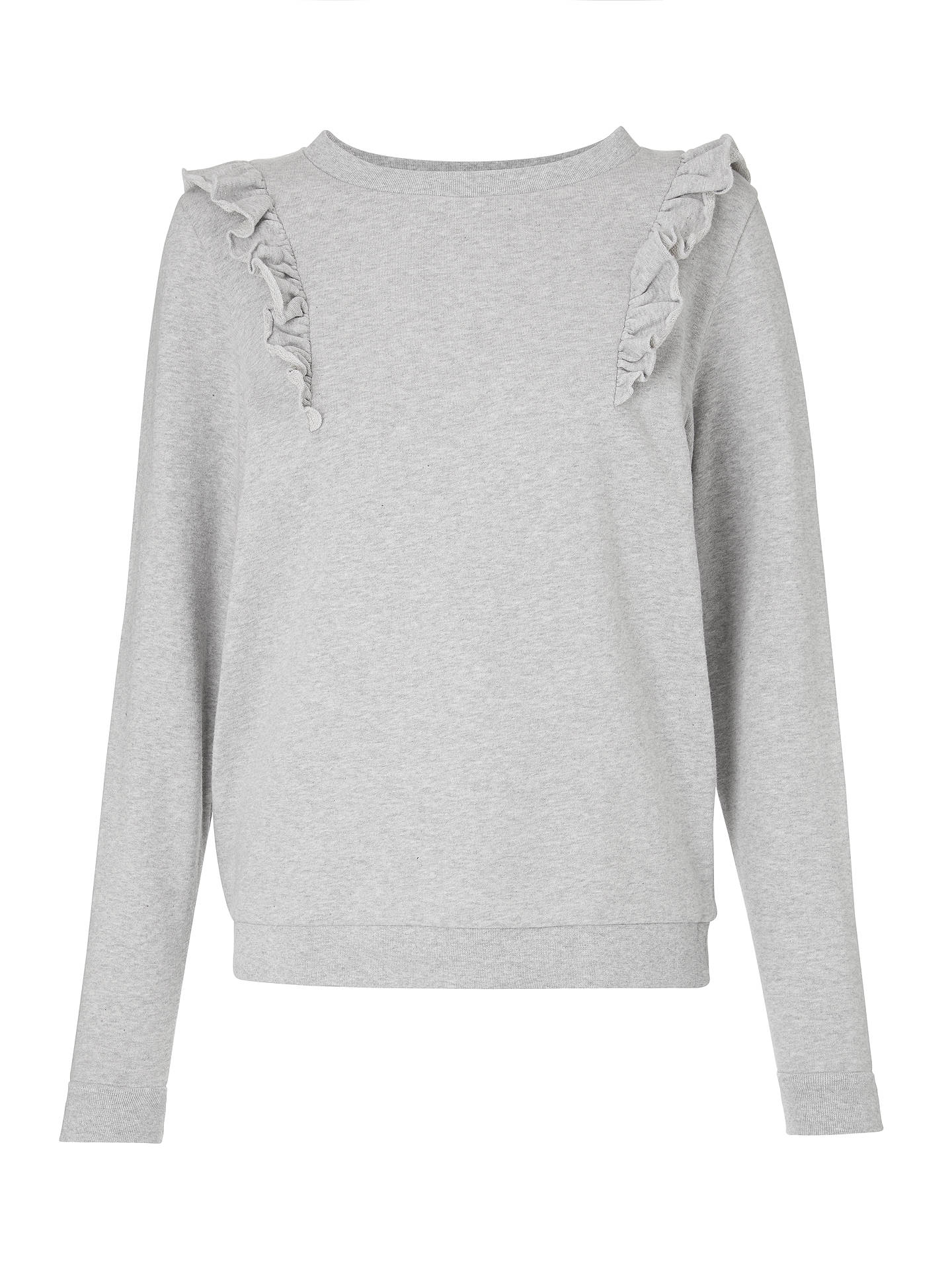 Buy ARMEDANGELS Vega Organic Cotton Frill Shoulder Sweatshirt, Light Grey Melange, XS Online at johnlewis.com
