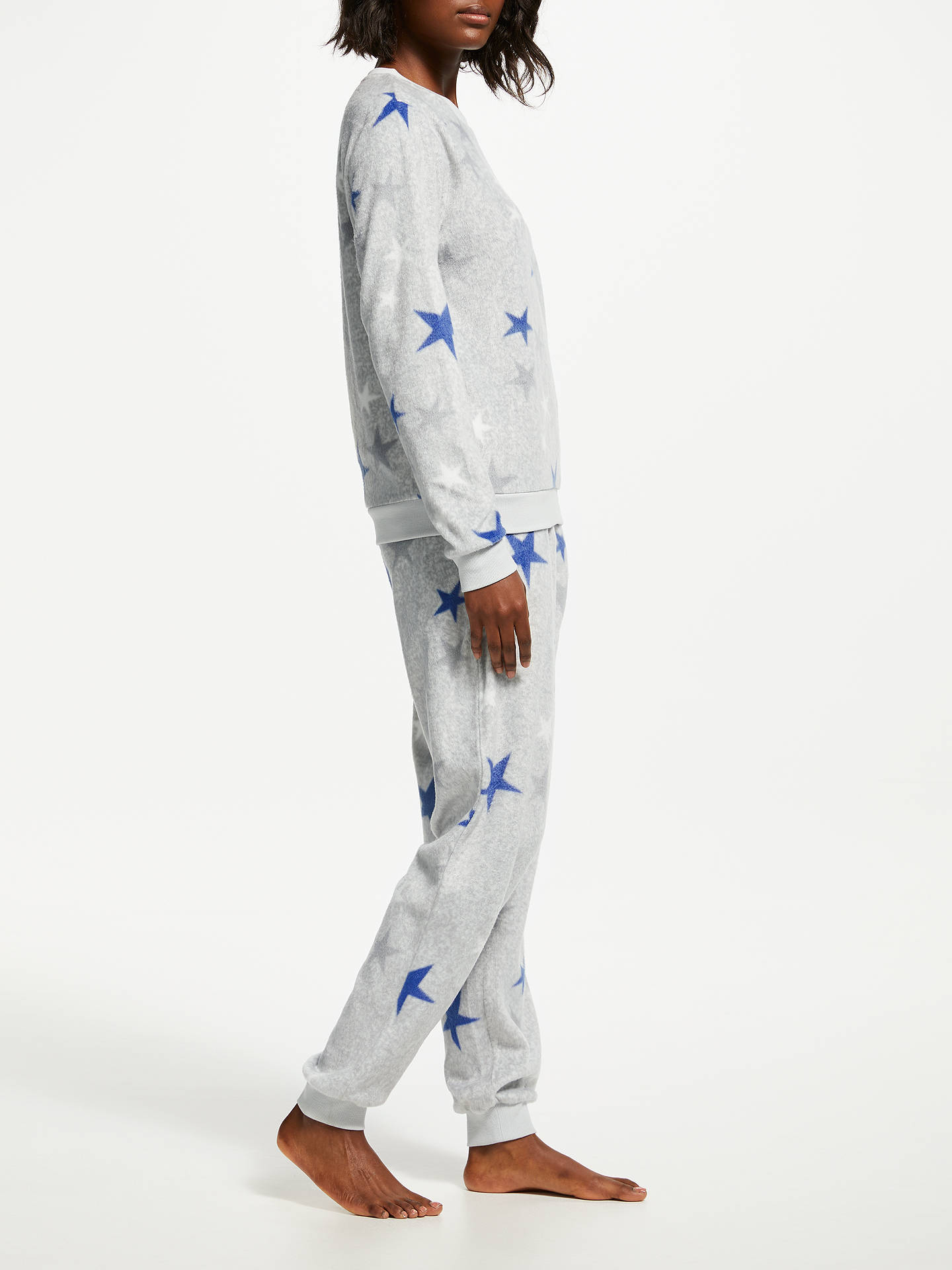 BuyJohn Lewis & Partners Star Print Fleece Twosie Pyjama Set, Grey, S Online at johnlewis.com
