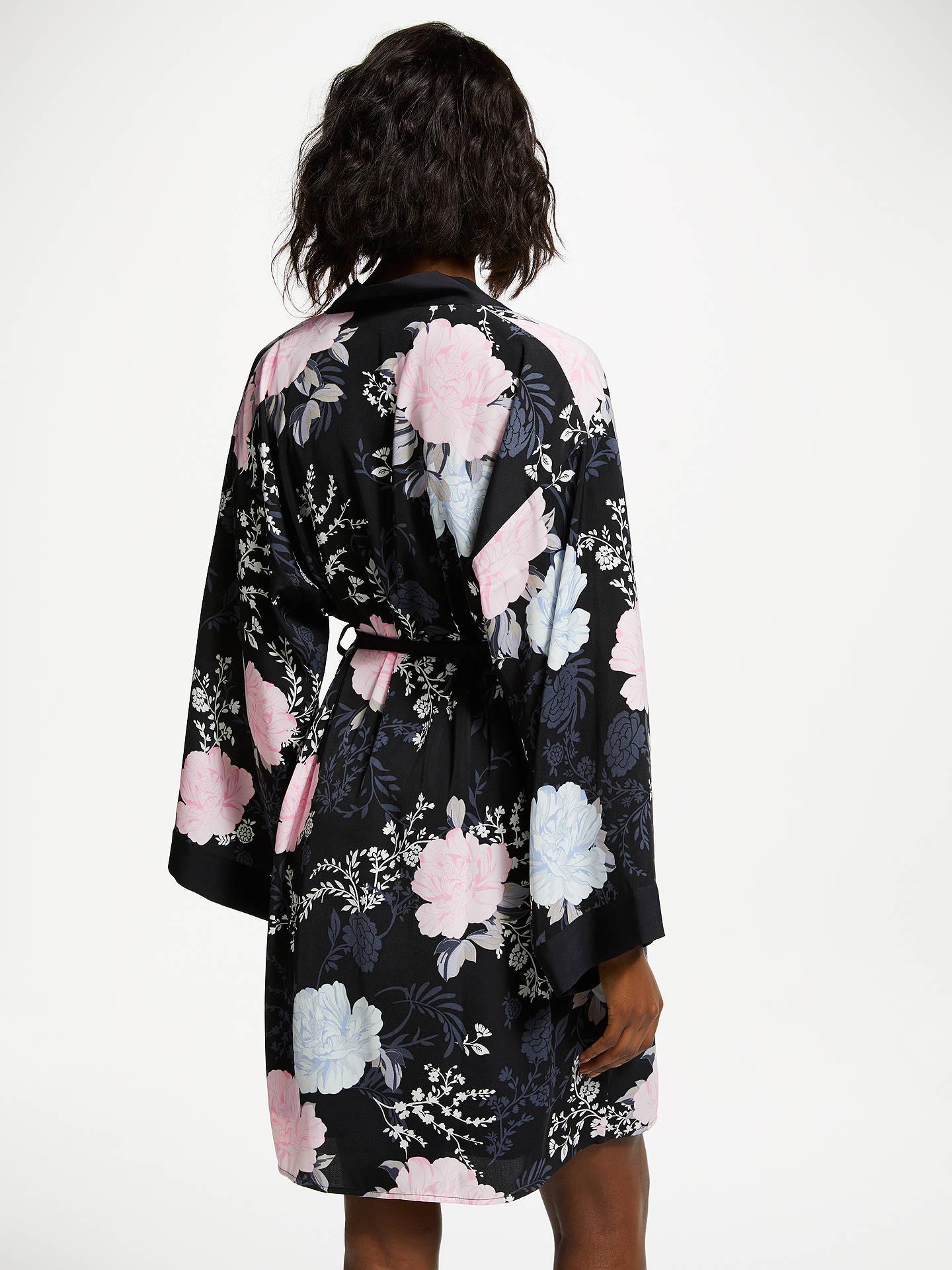 John Lewis Partners Gloria Floral Satin Dressing Gown Blackmulti