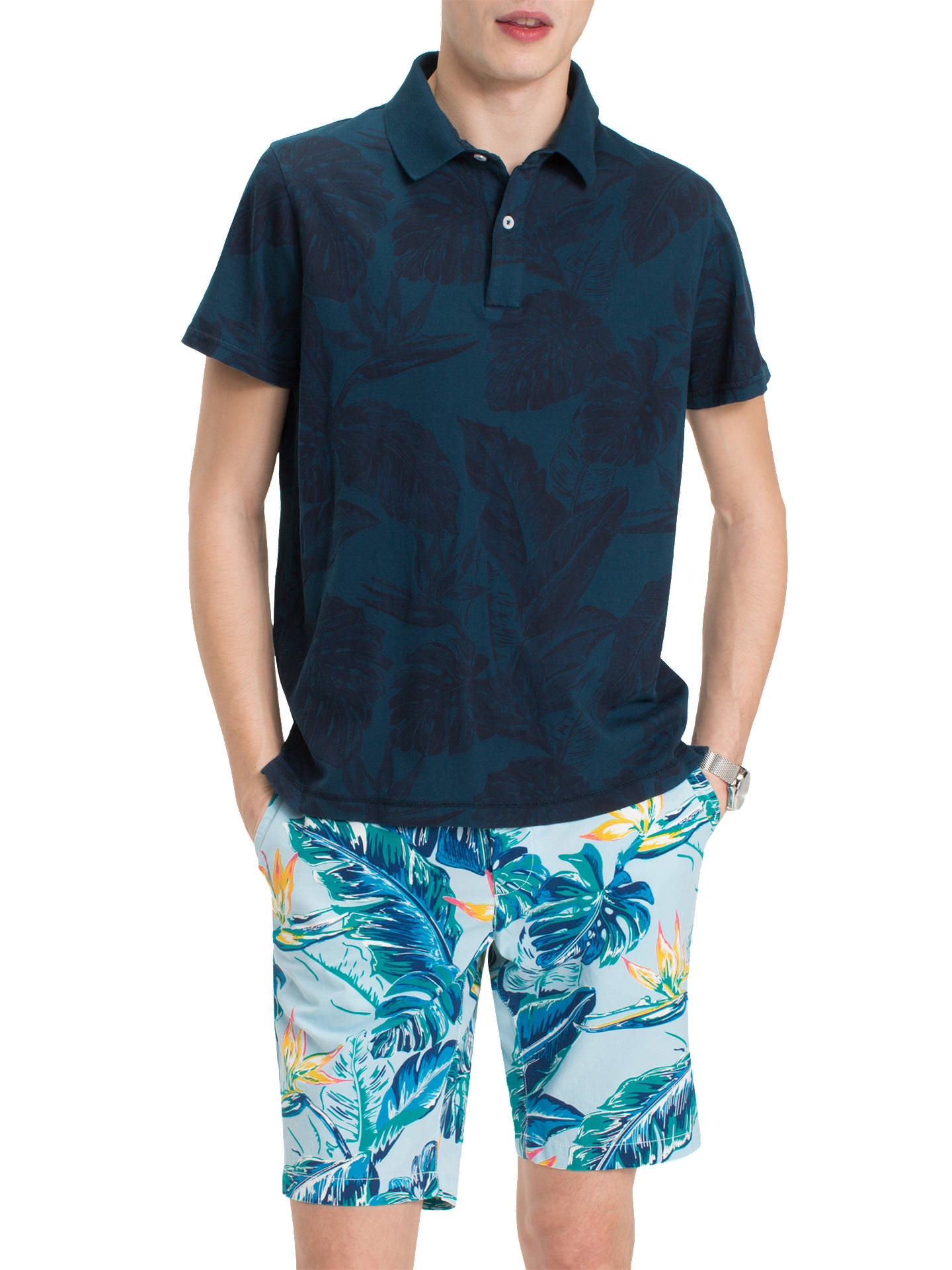 895fbf552 Buy Tommy Hilfiger Short Sleeve Floral Polo Shirt, Blue, L Online at  johnlewis.