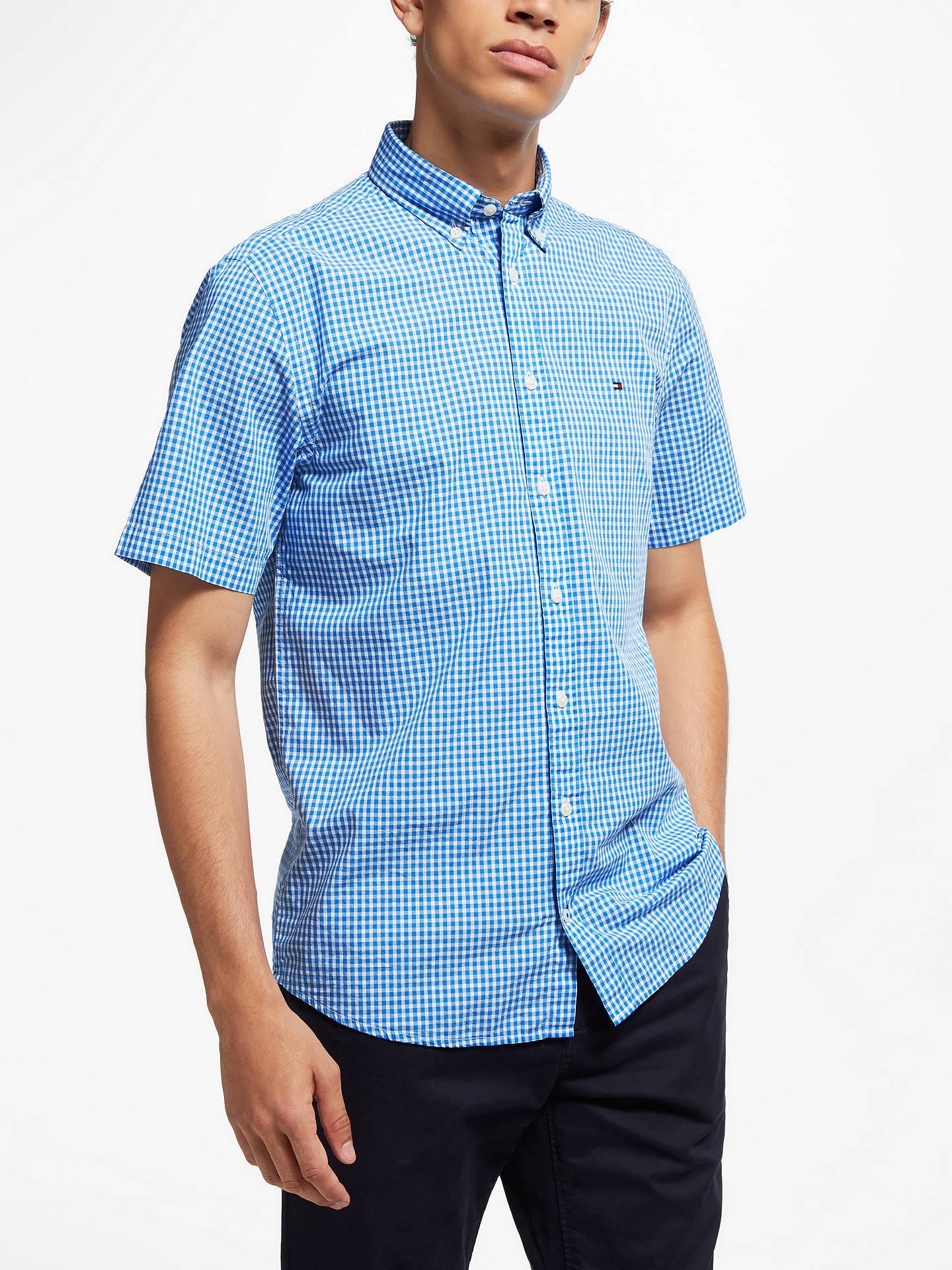 5f439570a Buy Tommy Hilfiger Short Sleeve Gingham Shirt, Blue, L Online at  johnlewis.com ...