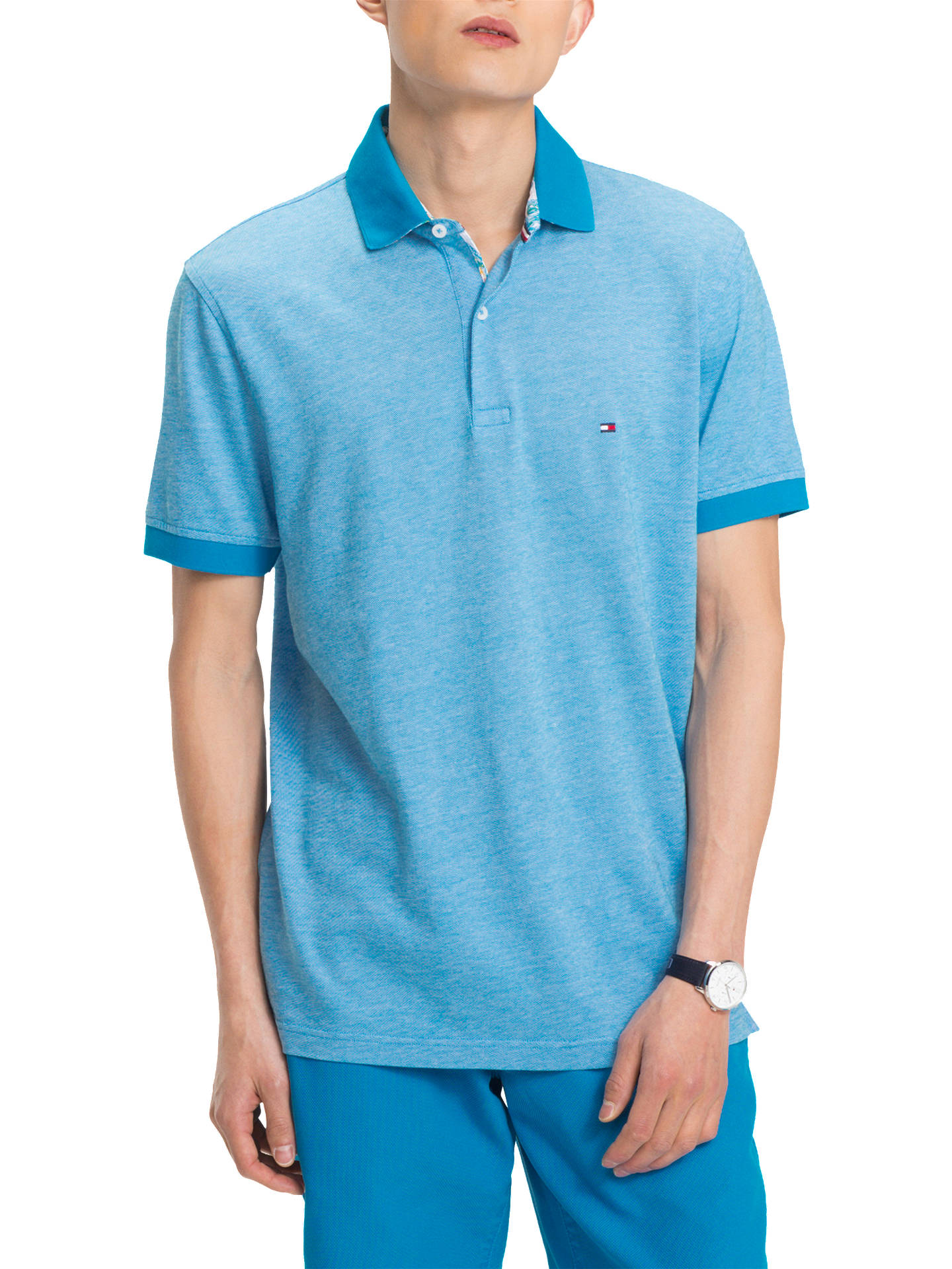8effde5e Buy Tommy Hilfiger Printed Undercollar Polo Shirt, Blue, L Online at  johnlewis.com ...