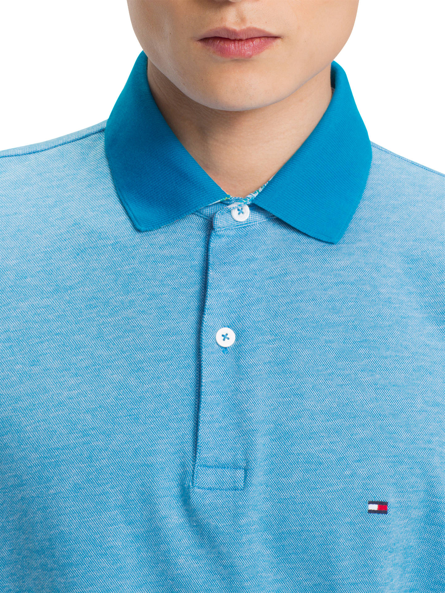 423f8d43 ... Buy Tommy Hilfiger Printed Undercollar Polo Shirt, Blue, L Online at  johnlewis.com ...
