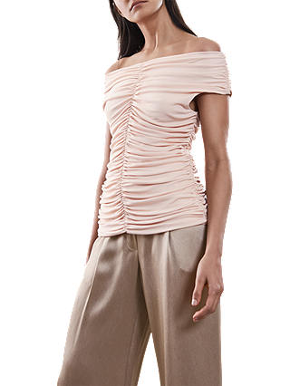 Buy Reiss Fabina Top, Neutral, XS Online at johnlewis.com