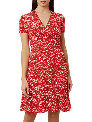 Hobbs Darcie Polka Dot Print Dress, Red/White