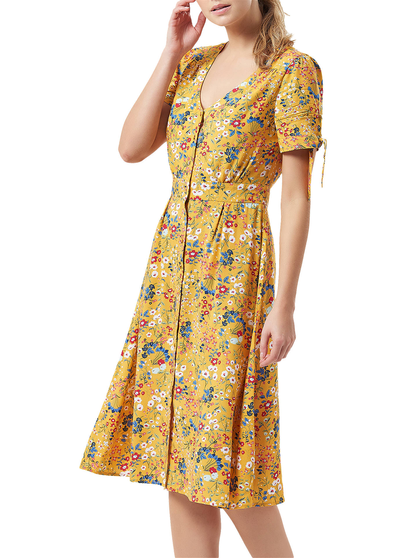 BuySugarhill Brighton Holly Floral Tea Dress, Yellow/Multi, 12 Online at johnlewis.com