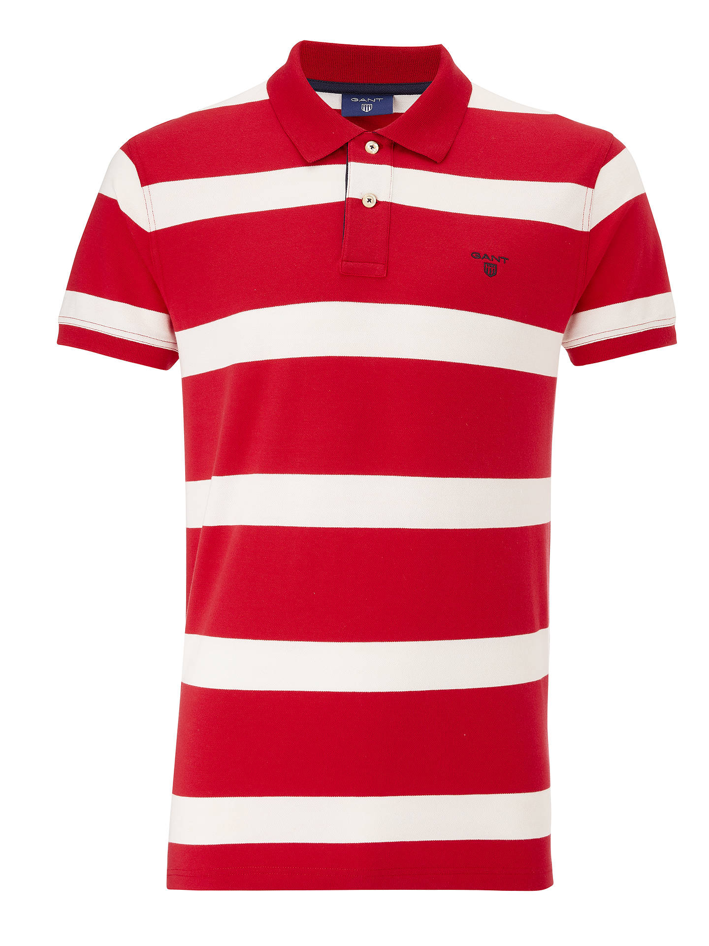 b9d9d6191b4 Buy GANT Contrast Collar Stripe Rugger Polo Shirt, Red, XL Online at  johnlewis.