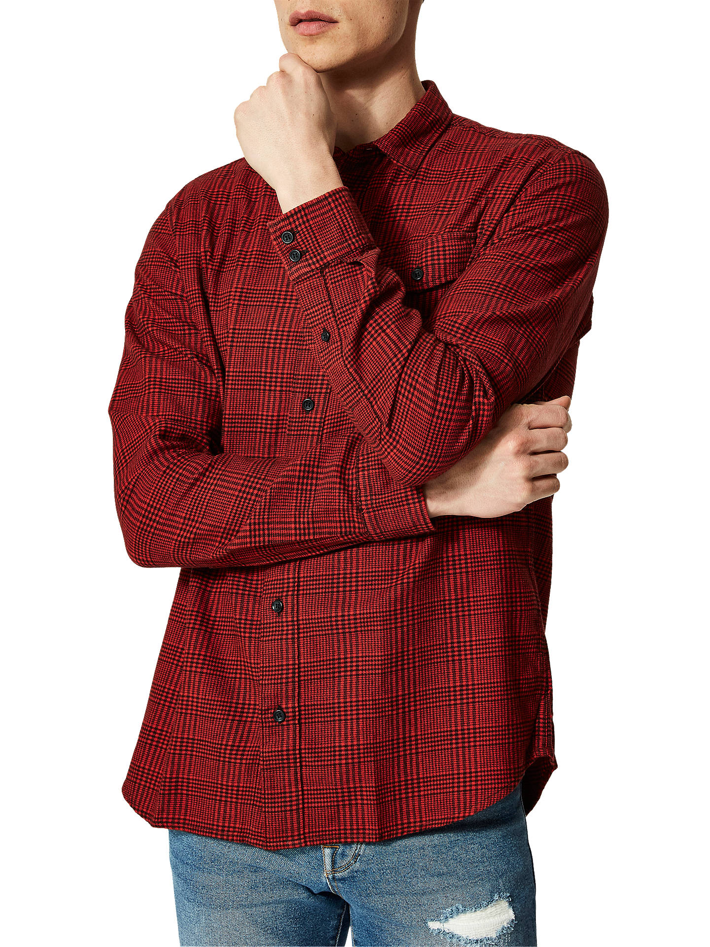 BuySelected Homme Valdemar Long Sleeve Check Shirt, Red, L Online at johnlewis.com