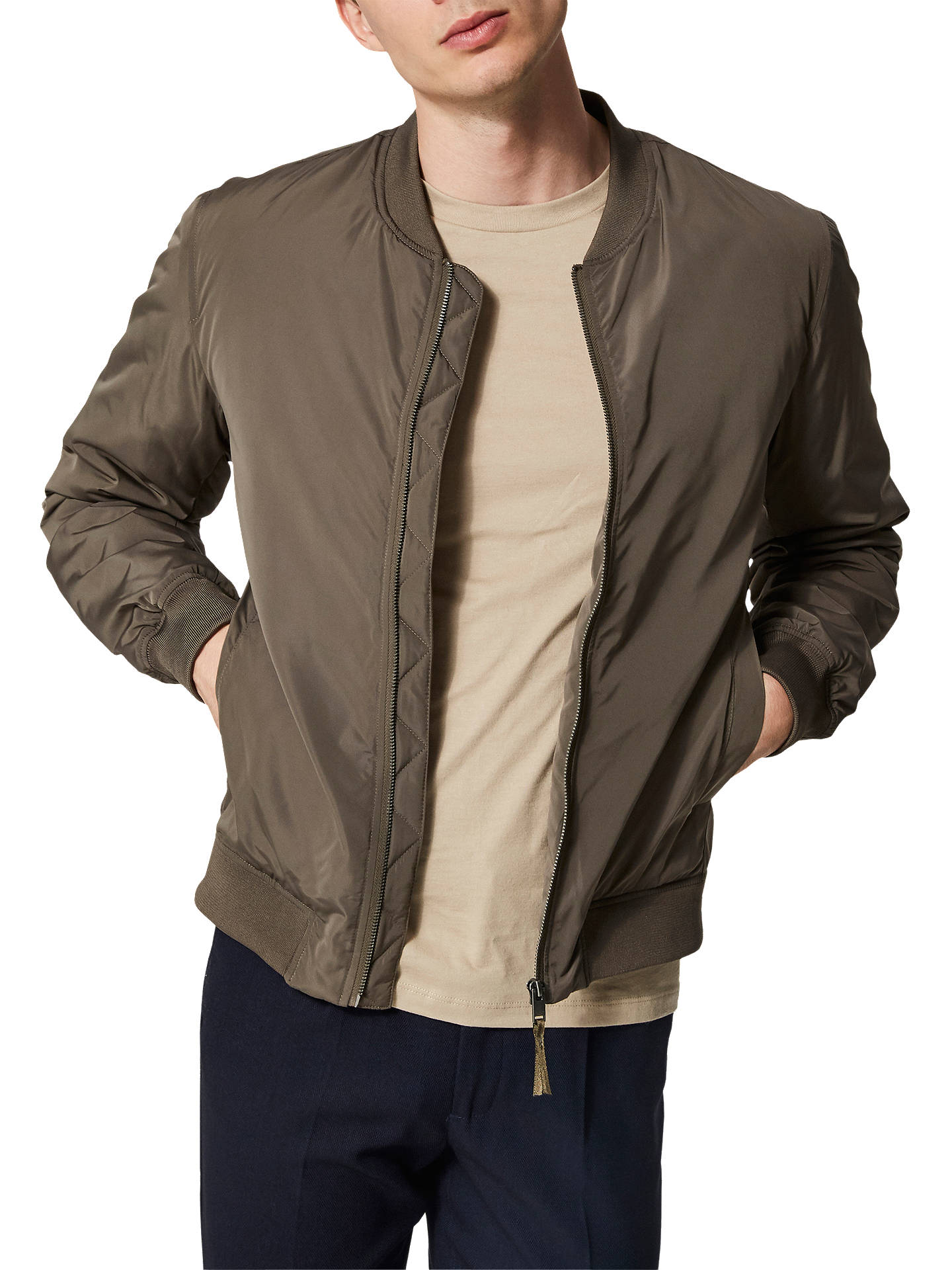 Buy SELECTED HOMME Felix Recycled Polyester Bomber Jacket, Brown, XL Online at johnlewis.com
