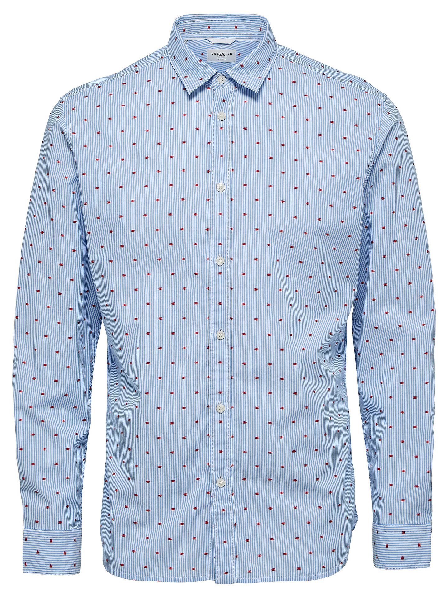 BuySelected Homme Monnie Long Sleeve Shirt, Blue, XL Online at johnlewis.com