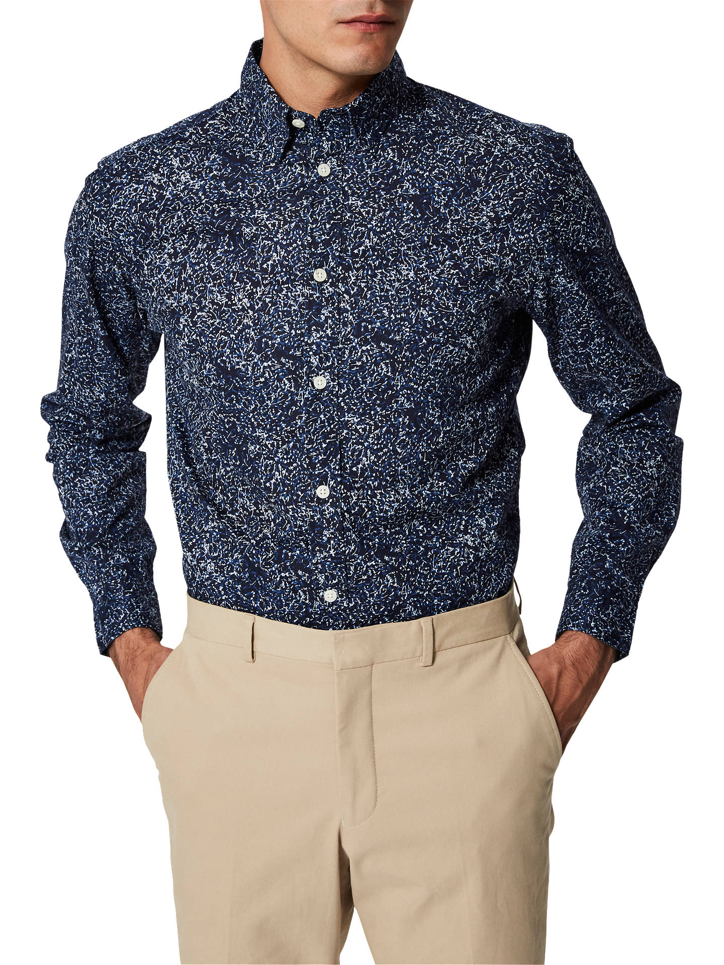 BuySelected Homme Mase Long Sleeve Shirt, Blue, XL Online at johnlewis.com
