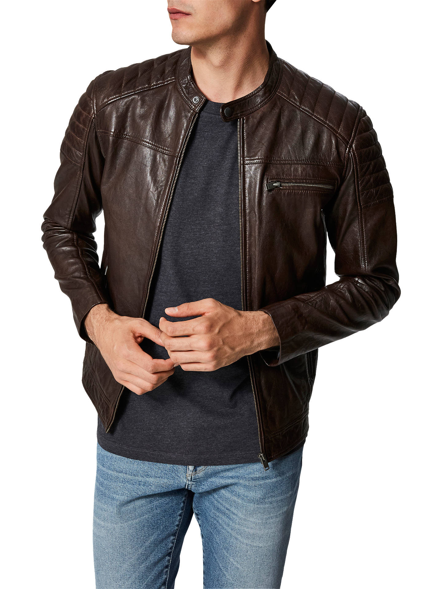 0464a24d6 Selected Homme Leather Jacket, Brown at John Lewis & Partners
