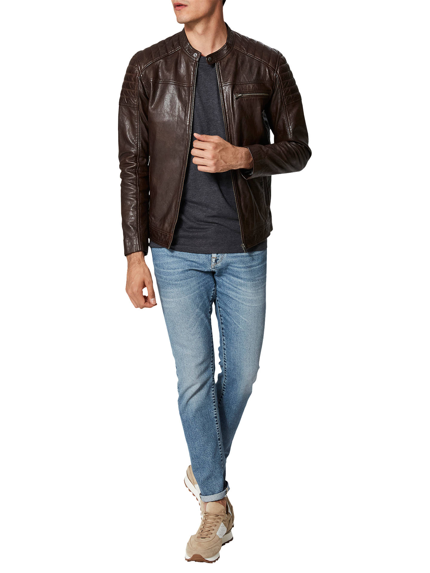 BuySelected Homme Leather Jacket, Brown, XXL Online at johnlewis.com