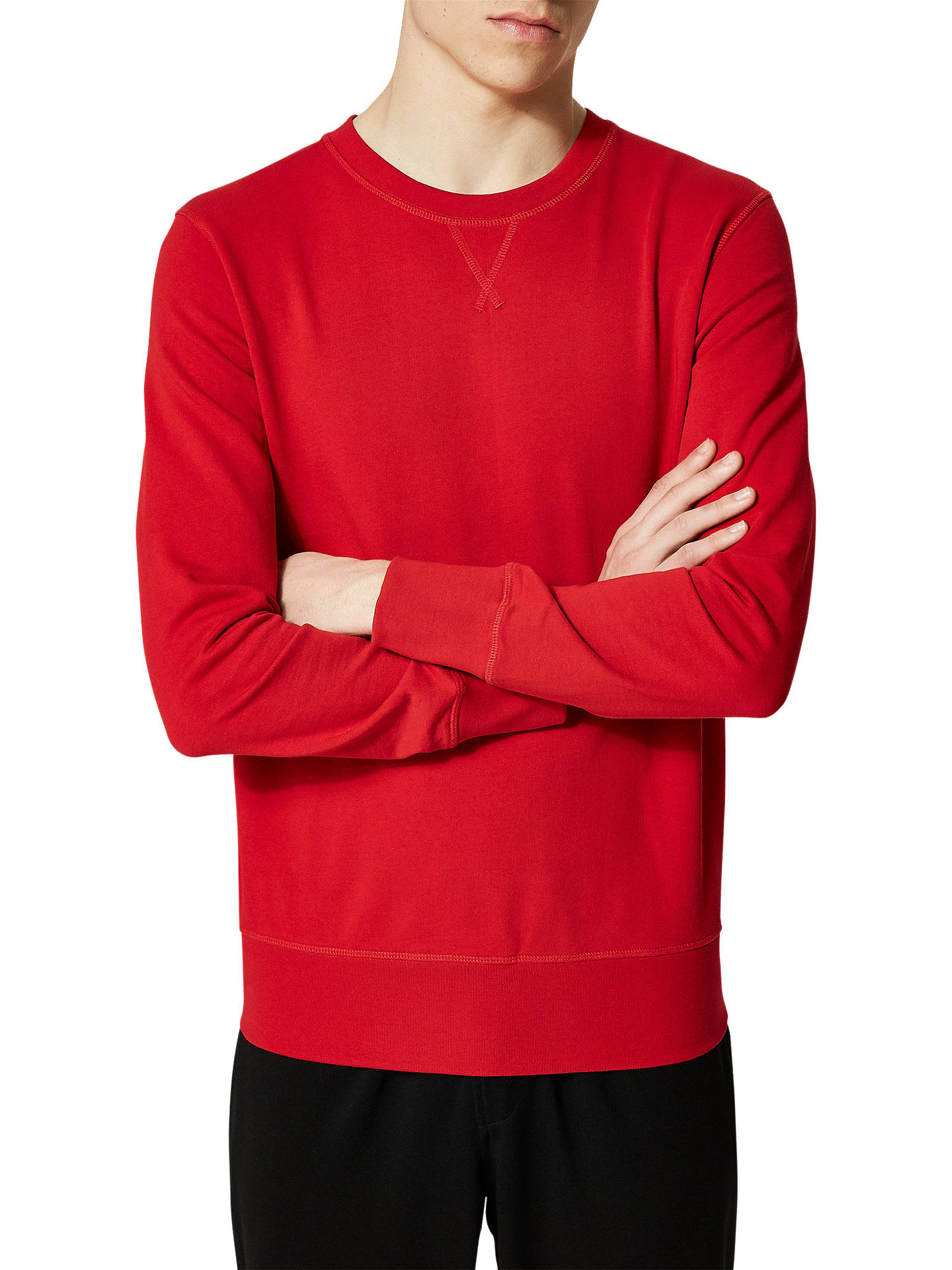 Buy Selected Homme Caleb Organic Cotton Long Sleeve Sweatshirt, Red, XL Online at johnlewis.com