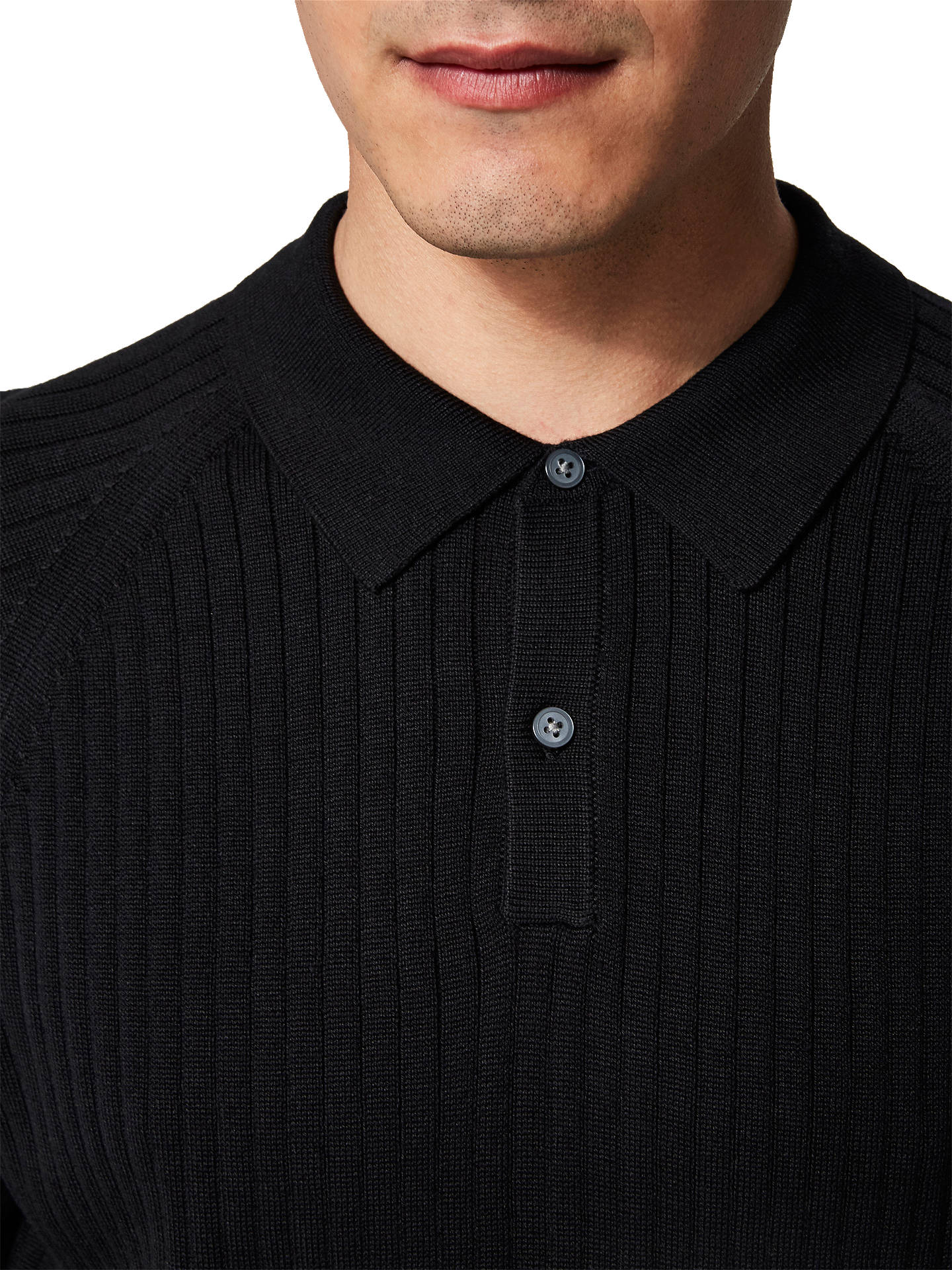 Buy Selected Homme Frank Polo Neck Long Sleeve Jumper, Black, XL Online at johnlewis.com