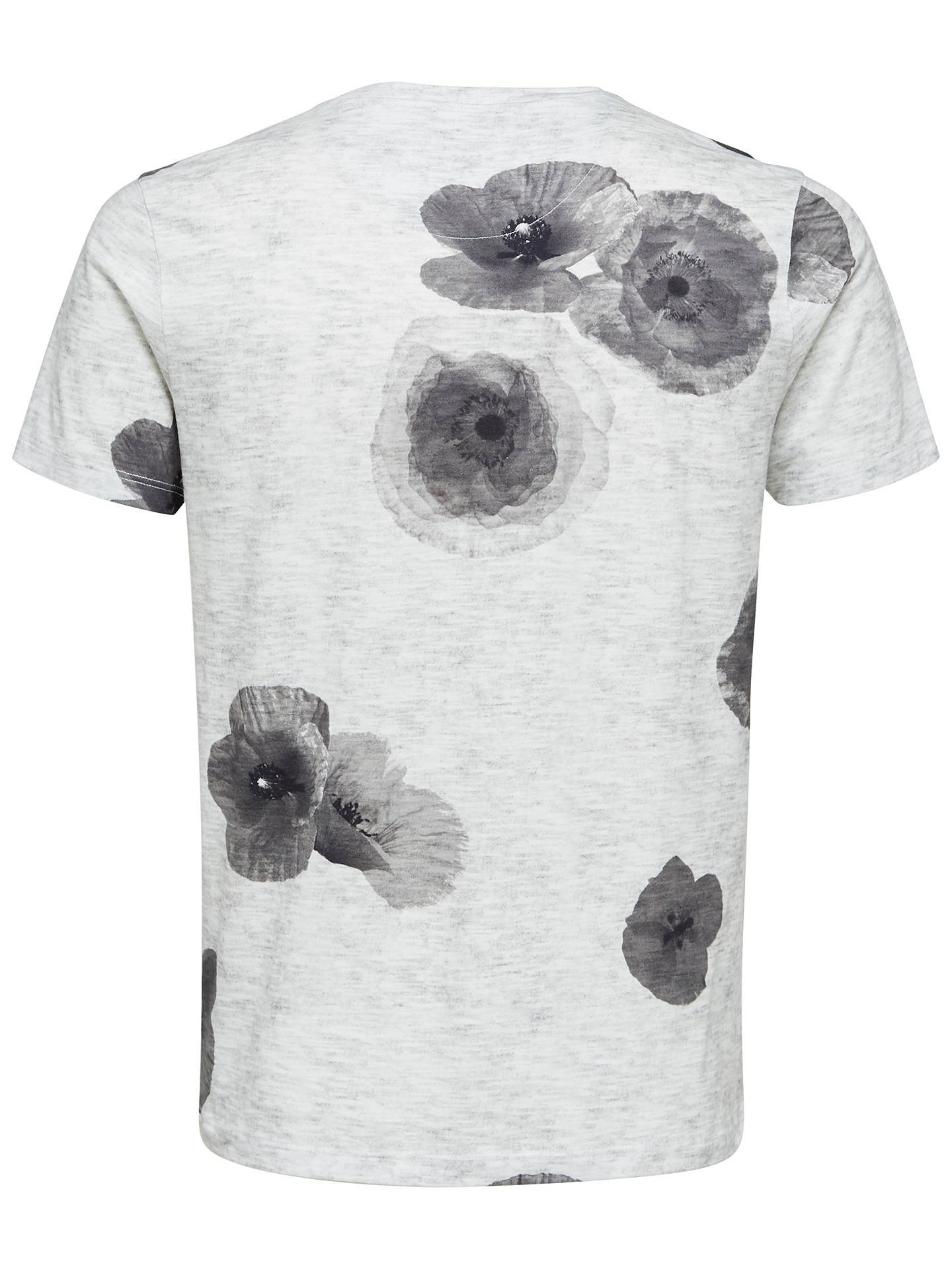BuySELECTED HOMME Short Sleeve Floral T-Shirt, Grey, XXL Online at johnlewis.com