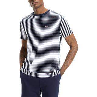 Tommy Jeans Short Sleeve Stripe T-Shirt, Navy/White