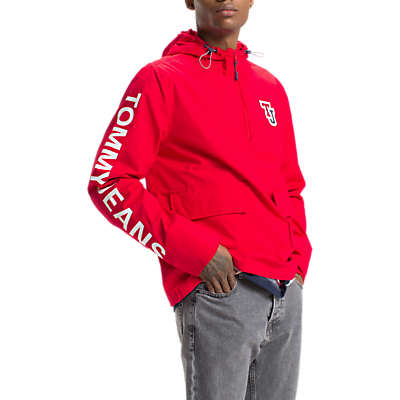 Tommy Jeans Logo Half Zip Pullover Jacket, Red