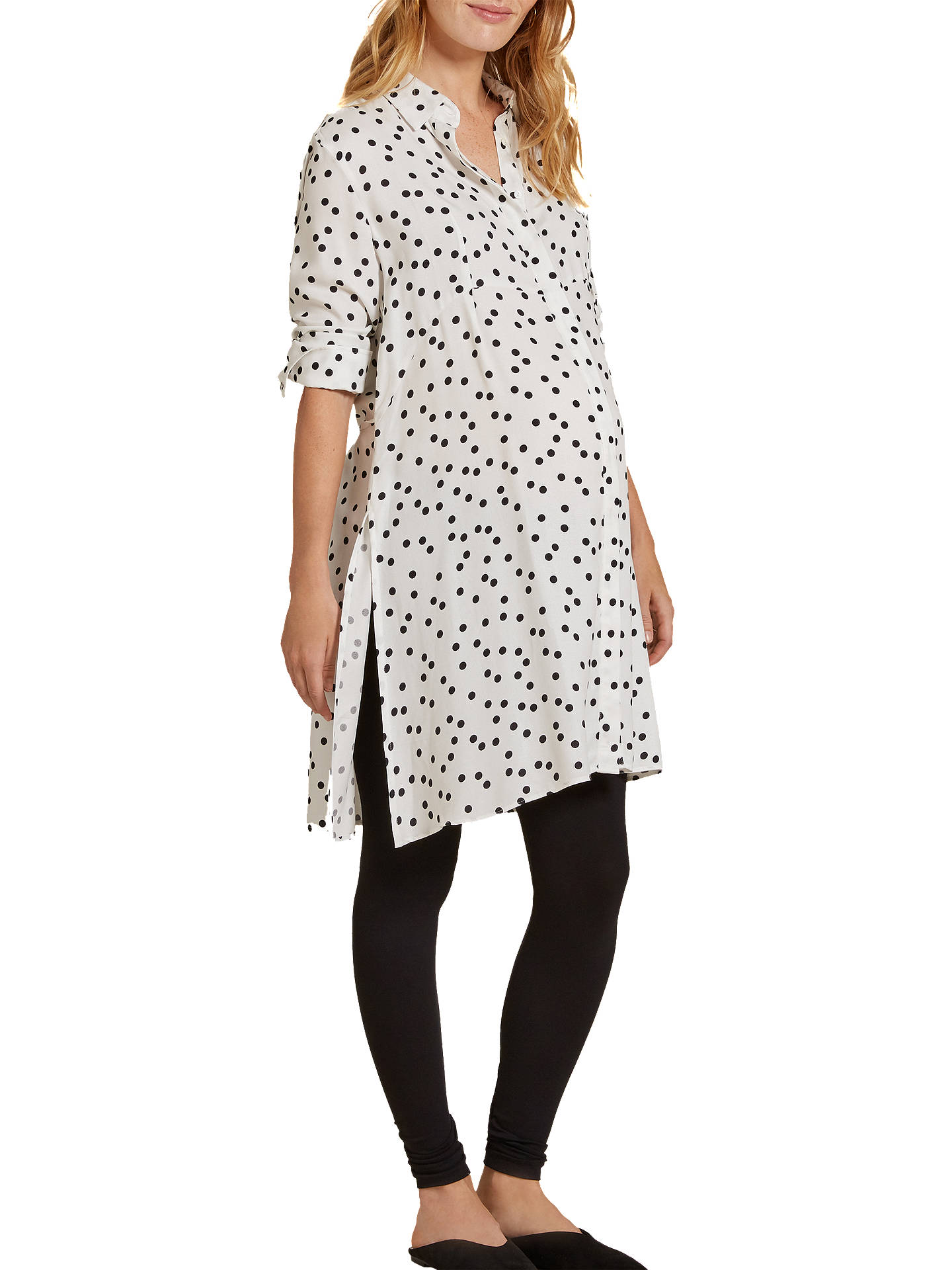 5a750c6dd9ab9 Buy Isabella Oliver Freida Polka Dot Maternity Shirt Dress, White, 8 Online  at johnlewis ...