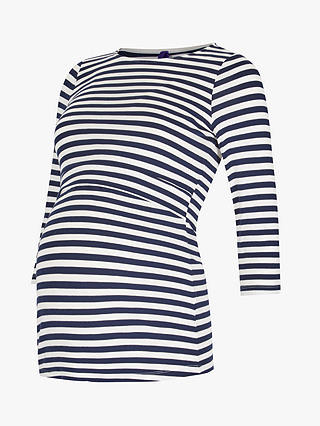 Buy Séraphine Laina 3/4 Sleeve Stripe Maternity Top, Navy, XS Online at johnlewis.com