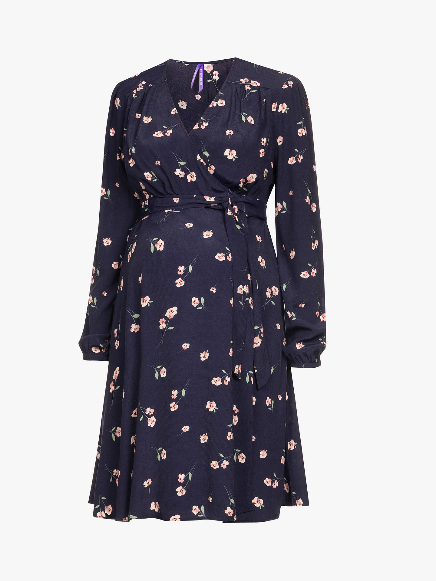 BuySéraphine Angelique Wrap Maternity Dress, Navy/Multi, 8 Online at johnlewis.com