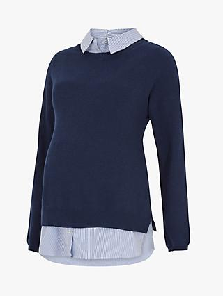 Séraphine Emily Stripe Maternity and Nursing Jumper, Navy