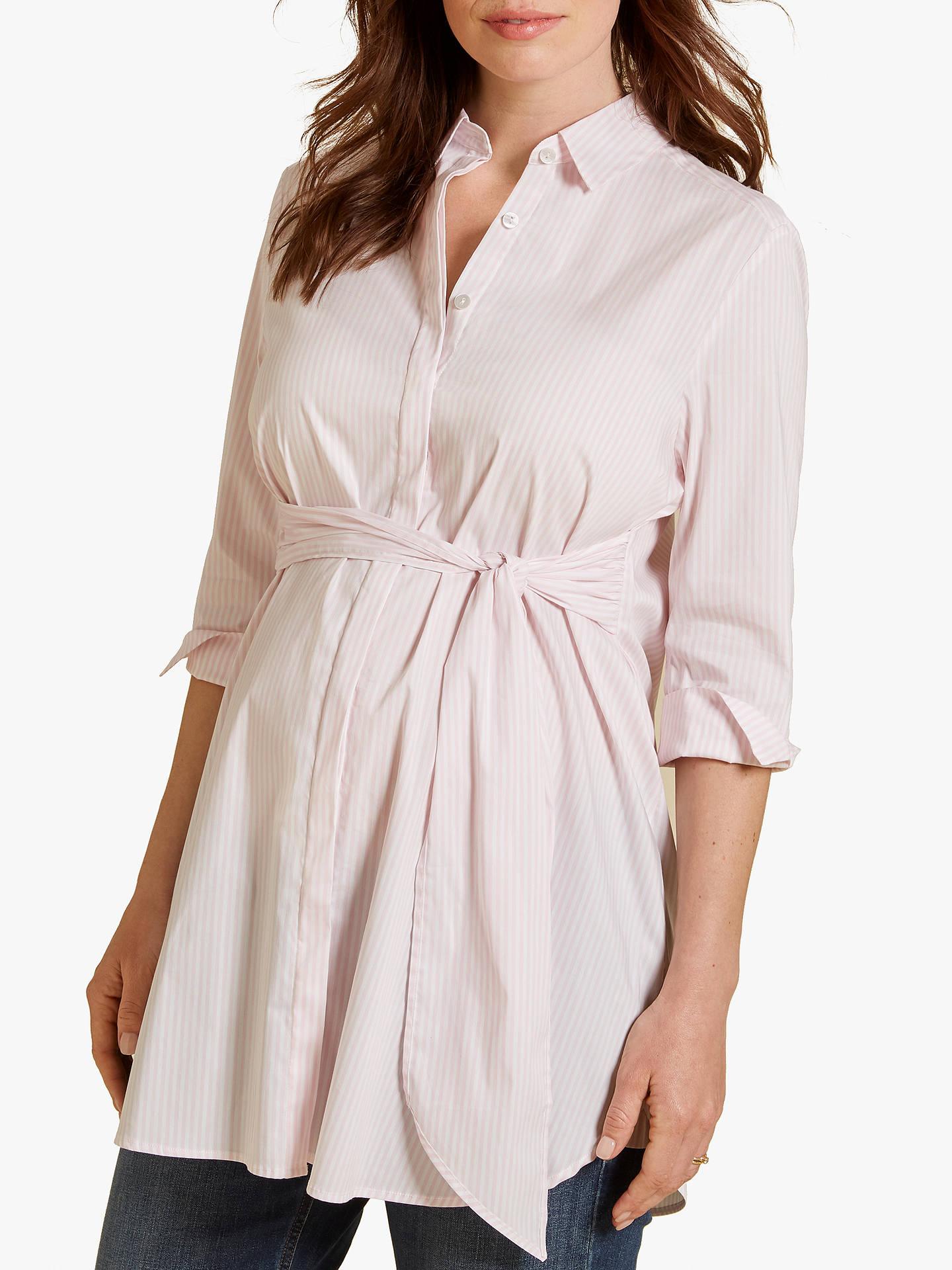 3fee572bb2f20 Buy Isabella Oliver Dora Striped Maternity Shirt, Pink, 8 Online at  johnlewis.com ...