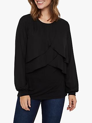 Mamalicious Suzie June Mixed Top, Black