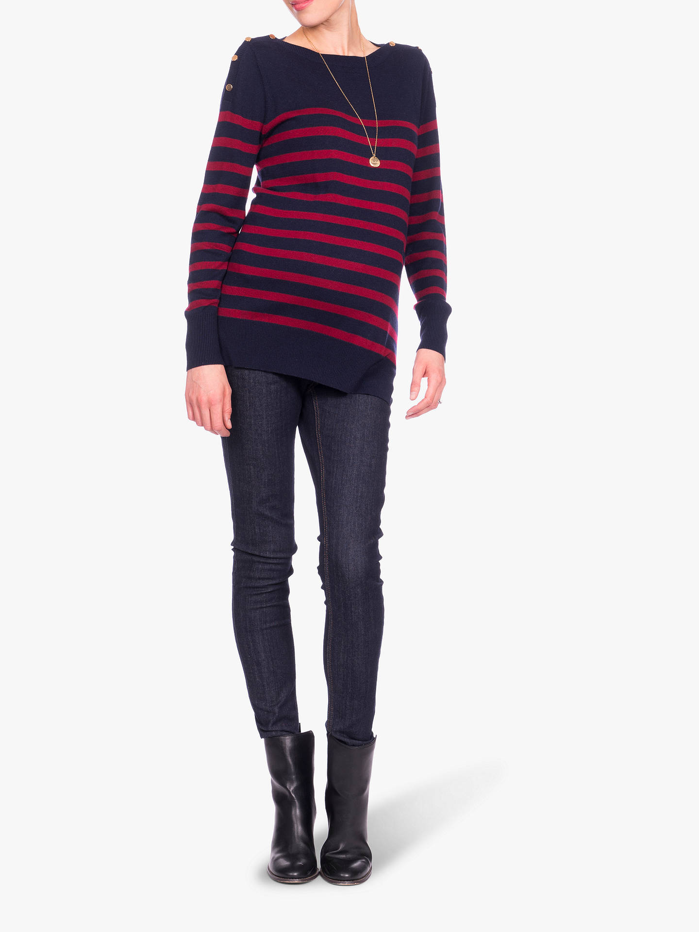 Buy Séraphine Evelyn Stripe Knit Maternity Jumper, Navy/Red, S Online at johnlewis.com